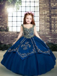 Blue Ball Gowns Straps Sleeveless Tulle Floor Length Lace Up Beading and Embroidery Kids Pageant Dress