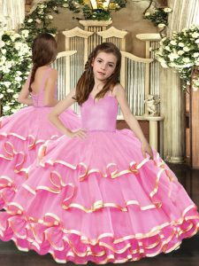 Nice Floor Length Ball Gowns Sleeveless Pink Little Girl Pageant Dress Lace Up