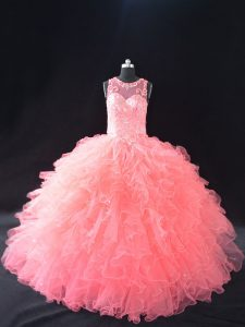 Scoop Sleeveless Lace Up 15 Quinceanera Dress Watermelon Red Organza
