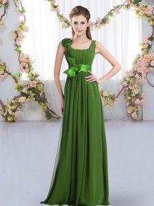 On Sale Empire Quinceanera Dama Dress Green Straps Chiffon Sleeveless Floor Length Zipper