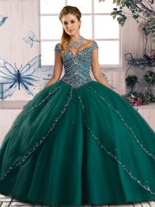 High Quality Sweetheart Cap Sleeves Quince Ball Gowns Brush Train Beading Green Tulle
