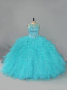 Aqua Blue Sleeveless Beading and Ruffles Floor Length Sweet 16 Quinceanera Dress