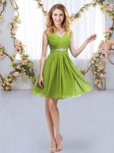 Customized Belt Dama Dress for Quinceanera Olive Green Zipper Sleeveless Mini Length