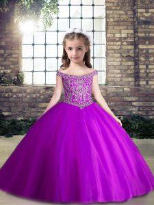Vintage Floor Length Purple Kids Pageant Dress Tulle Sleeveless Beading
