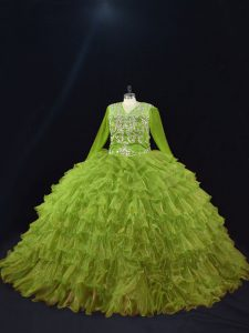 Fabulous Olive Green Long Sleeves Floor Length Ruffled Layers Lace Up Ball Gown Prom Dress
