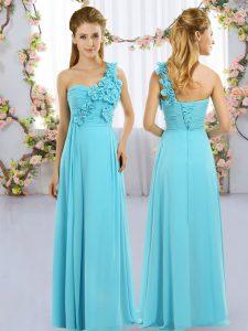Aqua Blue Empire One Shoulder Sleeveless Chiffon Floor Length Lace Up Hand Made Flower Court Dresses for Sweet 16
