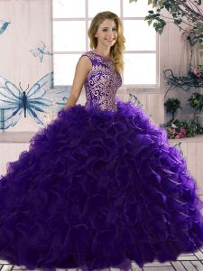 Nice Purple Ball Gowns Scoop Sleeveless Organza Floor Length Lace Up Beading and Ruffles 15 Quinceanera Dress