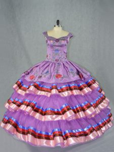 New Style Purple Lace Up Straps Embroidery and Ruffled Layers Vestidos de Quinceanera Organza Sleeveless