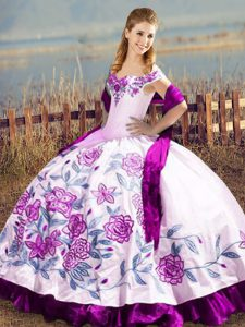 Purple Ball Gowns Off The Shoulder Sleeveless Satin and Organza Floor Length Lace Up Embroidery Ball Gown Prom Dress