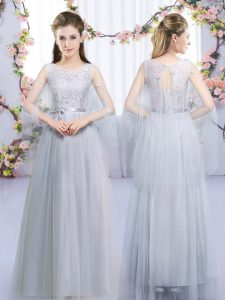 Exquisite Grey Sleeveless Lace and Belt Floor Length Quinceanera Court of Honor Dress