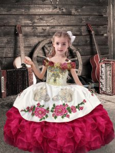 Coral Red Sleeveless Floor Length Beading and Embroidery and Ruffles Lace Up Kids Pageant Dress