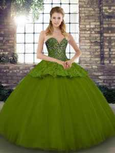 Sexy Olive Green Lace Up Quince Ball Gowns Beading and Appliques Sleeveless Floor Length