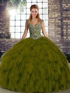Elegant Floor Length Olive Green Sweet 16 Dresses Organza Sleeveless Beading and Ruffles