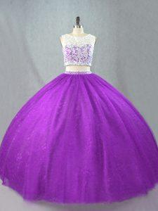 Shining Purple Scoop Zipper Beading Quinceanera Gowns Sleeveless