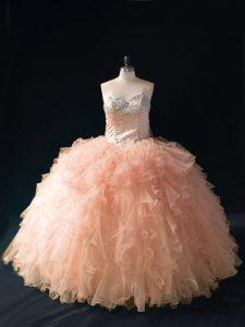 Beading and Ruffles Sweet 16 Dress Peach Lace Up Sleeveless Floor Length