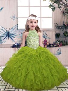 Low Price Olive Green Sleeveless Floor Length Beading and Ruffles Lace Up Girls Pageant Dresses