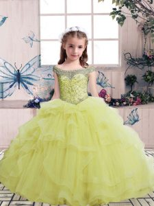 Amazing Yellow Ball Gowns Tulle Scoop Sleeveless Beading Floor Length Lace Up Evening Gowns