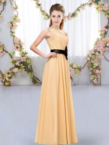 Nice Floor Length Orange Vestidos de Damas Chiffon Sleeveless Belt