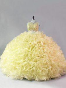 Yellow Sleeveless Floor Length Beading Zipper 15th Birthday Dress