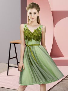 Latest Yellow Green Sleeveless Knee Length Appliques Lace Up Quinceanera Dama Dress