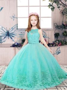 Dynamic Floor Length Aqua Blue Girls Pageant Dresses Tulle Sleeveless Lace and Appliques