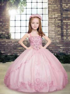 Noble Sleeveless Floor Length Beading Lace Up Pageant Dress for Teens with Lilac