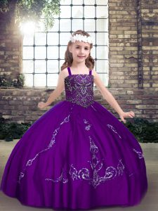 On Sale Purple Kids Pageant Dress Party and Wedding Party with Beading Straps Sleeveless Lace Up