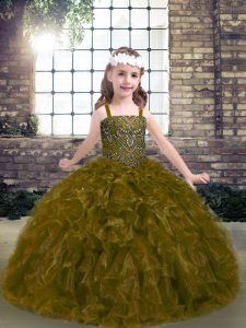 Pretty Olive Green Organza Lace Up Straps Sleeveless Floor Length Pageant Dress for Womens Beading and Ruffles