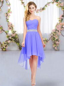 Empire Quinceanera Court Dresses Lavender Sweetheart Chiffon Sleeveless High Low Lace Up