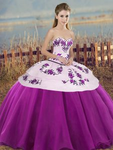 Classical White And Purple Ball Gowns Tulle Sweetheart Sleeveless Embroidery and Bowknot Floor Length Lace Up 15 Quinceanera Dress