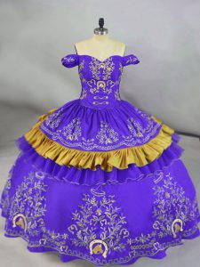 Modest Purple Sleeveless Floor Length Embroidery Lace Up Quince Ball Gowns