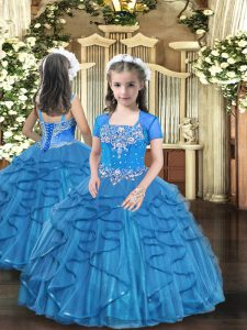 Ball Gowns Little Girl Pageant Dress Baby Blue Straps Tulle Sleeveless Floor Length Lace Up