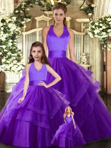 Simple Sleeveless Tulle Floor Length Lace Up Quinceanera Gown in Purple with Ruching