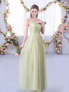 Artistic Yellow Green Empire V-neck Sleeveless Tulle Floor Length Side Zipper Lace and Belt Damas Dress
