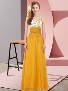 Perfect Gold Dama Dress for Quinceanera Wedding Party with Appliques Scoop Sleeveless Backless