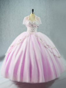 Fashion Lilac Sleeveless Beading Floor Length Sweet 16 Dresses