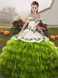 High End Olive Green Ball Gowns Embroidery and Ruffled Layers 15th Birthday Dress Lace Up Organza Sleeveless Floor Length