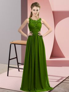 Chiffon Sleeveless Floor Length Court Dresses for Sweet 16 and Beading and Appliques