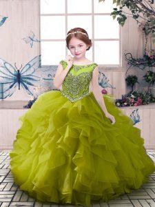 Olive Green Organza Zipper Little Girls Pageant Dress Wholesale Sleeveless Floor Length Beading and Ruffles