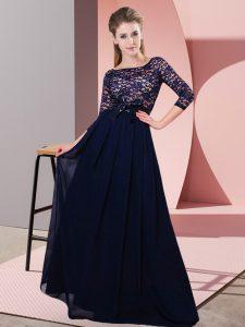 Pretty Floor Length Empire 3 4 Length Sleeve Black Quinceanera Court of Honor Dress Side Zipper