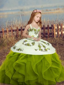 Fantastic Olive Green Long Sleeves Floor Length Embroidery and Ruffles Lace Up Pageant Dress for Teens