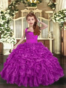 Beauteous Straps Sleeveless Pageant Dresses Floor Length Ruffles and Ruching Fuchsia Organza