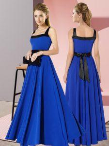 Captivating Floor Length Royal Blue Quinceanera Court of Honor Dress Square Sleeveless Zipper