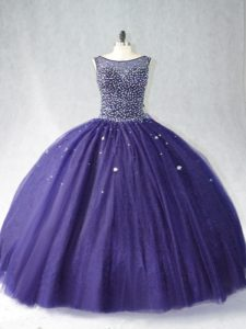 Floor Length Zipper Ball Gown Prom Dress Purple for Sweet 16 and Quinceanera with Beading