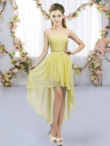 Delicate High Low Yellow Quinceanera Court of Honor Dress Chiffon Sleeveless Beading