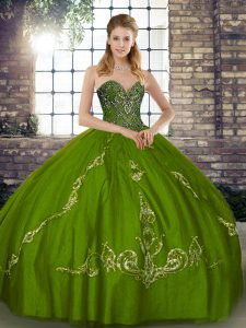Flare Olive Green Tulle Lace Up 15 Quinceanera Dress Sleeveless Floor Length Beading and Embroidery