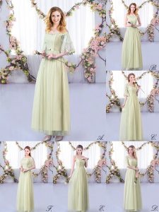 Spectacular Yellow Green Side Zipper Court Dresses for Sweet 16 Lace and Belt Half Sleeves Floor Length