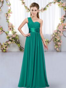 Low Price One Shoulder Sleeveless Dama Dress for Quinceanera Floor Length Belt Peacock Green Chiffon