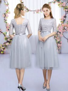 Best Selling Half Sleeves Tea Length Lace and Belt Lace Up Court Dresses for Sweet 16 with Grey