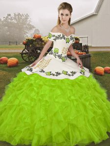 Sleeveless Floor Length Embroidery and Ruffles Lace Up Vestidos de Quinceanera with Yellow Green